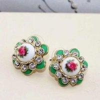 Free shipping~Vintage Fashion Rhinestone Smart Flower Stud Earrings 12 pairs/lot Free Ship