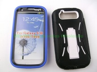 250pcs/lot   Gel Soft Hard Dual Layer Stand Case Cover for Samsung Galaxy S III S3