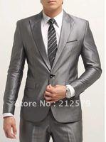western style suit silver gray Slim Luxury Dress Suit sets,SU05