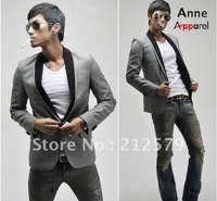 Free Shipping! Gray suits black collars Casual suit jacket Men's Slim Coats cheap wholesale (Drop shipping support!) JK50