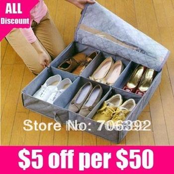 Free shipping Hot Sale  Bamboo Charcoal Fibre Shoe Storage Box 1pcs/lot