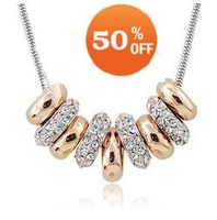 holiday Sale white gold plated multi round crystal Necklace pendant zircon rhinestone fashion jewelry 1952