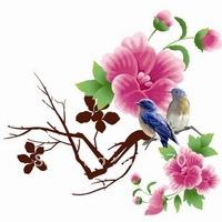 "24""*36"" Flowers sticker Bird wallpaper Flower vine poster wall stickers/ home decoration Wholesale Free shipping"