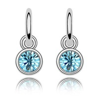 Free Shipping! Quality Women's Charm 18K White Gold Plated & Sea Blue Crystal Drop Earrings Made With Swarovski Elements (5847)