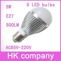 High quality LED light AC85-265V E27 5W 500LM 5 LED bulbs silver aluminum one year warranty Free Shipping