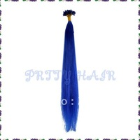 "Wholesale,3*100pcs/Lot Straight Colorful Nail Tip Brazilian Remy Human Hair Extensions ,22"" Color Blue,7284"