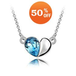Sale Min order=$10 platinum white gold plated heart blue crystal Necklace pendant crystal jewelry 1090(China (Mainland))