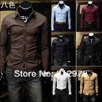 Free Shipping New 2014 Long sleeve Business Men Social Shirt  8 Color