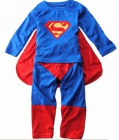 new arrival Super man children's clothing children's clothing super man set male child habergeons freeshiping