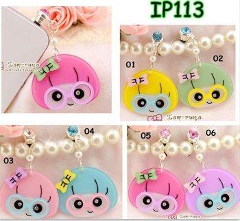 Wholesale - Korea Taiwan acryl lovely little girl phone mobile dust plug,phone accessory.