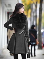 Женские пуховики, Куртки Holiday Sales 2012 Winter foxfeather fur collar down cotton zipper plus size thickening women ourterwear 2248XLJ