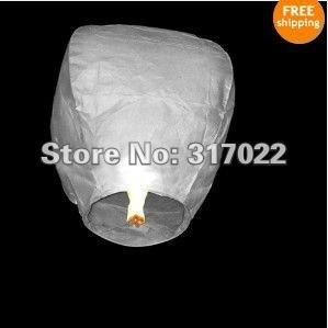 100pcs/lot White color only Sky Lanterns Wishing Lantern fire balloon Chinese Kongming lantern Wishing Lamp