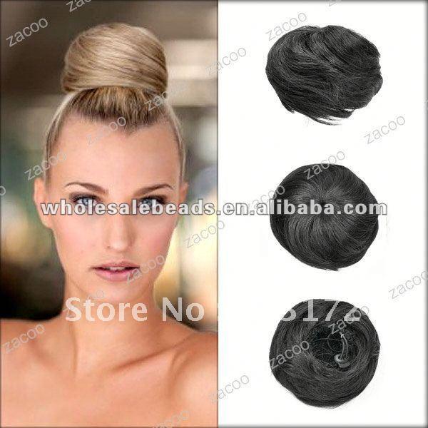 Black Hair Bun Pieces Bright Black Hair Bun Wig