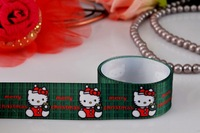 "hello kitty ribbon wholesale free shipping 1"" merry christmas kitty grosgrain ribbon white 50yards"