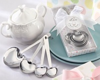 Free Shipping,4 in Love Heart Stainless Steel Spoon Set Wedding Favor,100pcs/lot