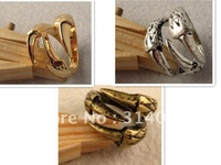 <Attention!Free shipping for Min.order $15,mix model>Vintage Bronze&Gold&Silver Color Available Texture Claw Finger Rings R015