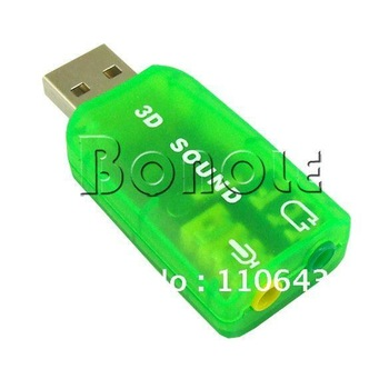 Holiday Sale! USB 2.0 Mic Speaker 5.1 Audio Sound Card Adapter Green  1050