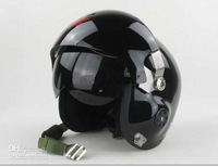 Wholesale - - Jet Pilot Flight Helmet Open Face Motorcycle Helmet B Black