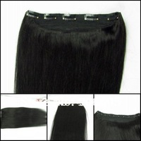 One Piece Clip In Human Hair Extensions 1B#  16/20/24inch 5 clips 100g/piece 100% Human Hair Accept Custom Order Free Shipping