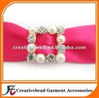 small crystal pearl buckles, square rhinestone and pearl buckles slider, small ribbon slider for wedding