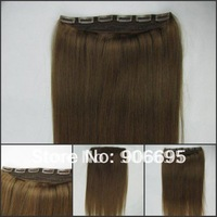 8# Medium Brown One Piece Clip In Hair Extensions 16/20/24inch 5 clips 100g/piece Accept Custom Order Free Shipping