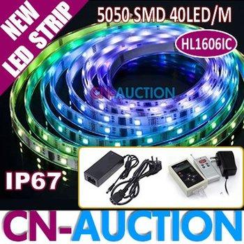 5M/Roll HL1606IC Dream Color Digital LED Strip RGB 5050 SMD 40LEDs/M+RF Controller+5V Adapter+12V 5A Adapter 20M/Lot(CN-LS62)