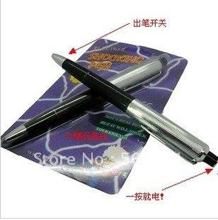 hot Shocking Electric Shock Novelty Metal Pen Prank Trick Joke Gag Funny Toy Gift 50pcs free shipping