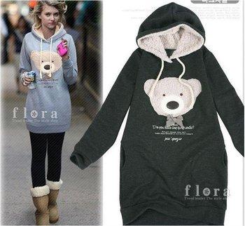 Hot sell Free shipping NEW hoodie long top pullover, winter coat,garment coat,women's coat,hoodie Cute teddy bear