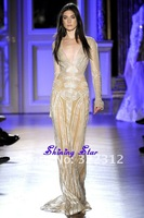 Zuhair Murad Couture 2013 Sexy V neck Full Beads Long Sleeves Fashion Formal Fashion Modest Floor Length Evening Dress Prom Gown