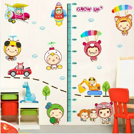 Wholesale Price +Free shipping! Kids Room Cartoon wall stickers, drawing room Bedroom Decor, Height sticker St001-3(China (Mainland))