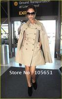 Free shipping, Top quality Victoria Fashion striped silk blend stretch crepe zipper dress - Women's V-Neck casual dresses HU1211
