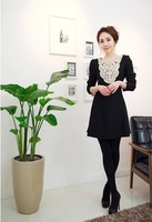Free Shipping,2012 autumn outfit new fashion lace collar collect waist cultivate one's morality big pendulum dress
