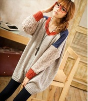Free Shipping 2012 Newest Patchwork Loose Sweater Fuzzy Bat Sleeve Sweater Pullover(Beige+Black+Average)120904#14
