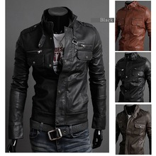 2012 new men's leather jacket Korean catwalks shall Slim leather jacket PU high quality 3 color 4 size hot sale(China (Mainland))