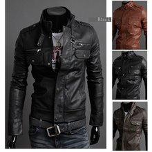 2014 new men's leather jacket Korean catwalks shall Slim leather jacket PU high quality  3 color 4 size hot sale(China (Mainland))
