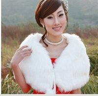 Bride fur shawl wedding wrap collarless lacing kaross cloak -Free shipping