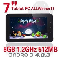 "7"" inch Tablet PC with Google Android 4.0,4GB/512MB,5 Point Capacitive Screen,Allwinner A13 Processor,Webcam wifi"