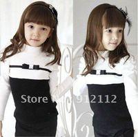 Wholesale 2012 new fashion kids autumn black white patchwork tee shirt girl long sleeve cotton tops children clothes 5pcs/lot