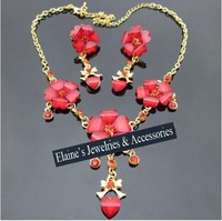 MIN.ORDER $15,fashion red acrylic flower bride jewelry set,little rhinestones decorated