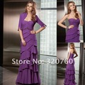 Custom made Free shipping Sweetheart Purple A Line chiffon Beaded Pleated formal evening Party dresses mother of bride Gowns