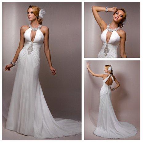 Halter Wedding Dresses With Low Back Decoration Halter Low Back