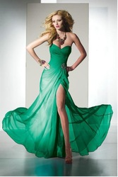 Free Shipping Green Chiffon Sweetheart Sleeveless Rhinestone Long High School Discount Graduation Dress/Prom Dress/Evening Dress(China (Mainland))