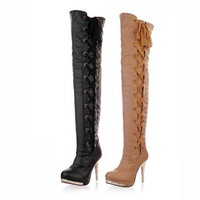 Big size US 4-11 2012 new style fashion sexy Over-The-Knee Ribbons  pumps PU 2 colors boots CYYY-C61