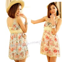 Shoreless laciness V-neck print chiffon shirt short design one-piece dress fence tube top