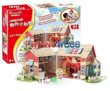 Hot New 3D Jigsaw Puzzle Cubic Fun Sweet Villa with LED Light 4pcs/lot