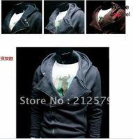 Men's Hooded jacket side zipper sweater hood jackets coat Black Grey JK04