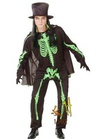 Free shipping--Masquerade / clothing / death Halloween Costume / luminous ribs suit