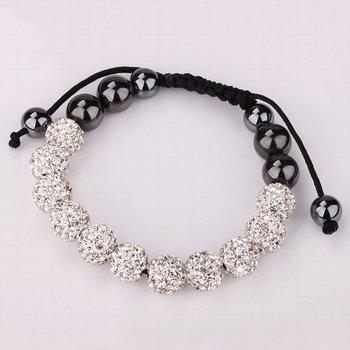 Free Shipping!!! Quality 11 White Rhinestone Crystal Disco Balls Beaded Shamballa Bracelet, Handmade Shambala Bracelets (SBB121)