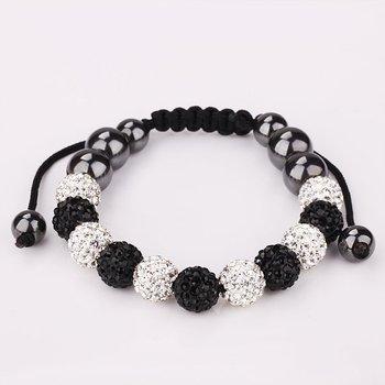 Free Shipping!!! 6 White & 5 Black Rhinestone Crystal Disco Balls Beaded Shamballa Bracelet, Handmade Shambala Bracelets(SBB185)