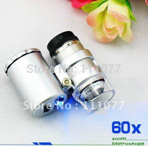 Jeweller LED 60x Magnifier Mini Pocket Zoom Microscope, Free & Drop Shipping(China (Mainland))